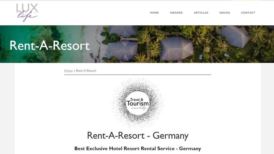 Travel & Tourism Award 2021 - LUXlife
